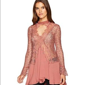 Free People Mini Tell Tale Tunic Dress Brown M